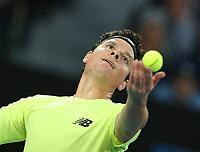 28th January 2020; Melbourne Park, Melbourne, Victoria, Australia; Australian Open Tennis, Day 9; Milos Raonic of Canada serves during his match against  Novak Djokovic of Serbia