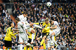Real Madrid's Carlos Henrique Casemiro, Rafael Varanne, Karim Benzema and Borussia Dortmund Pierre-Emerick Aubameyang, Marcel Schmelzer during the UEFA Champions League match between Real Madrid and Borussia Dortmund at Santiago Bernabeu Stadium in Madrid, Spain. December 07, 2016. (ALTERPHOTOS/BorjaB.Hojas)