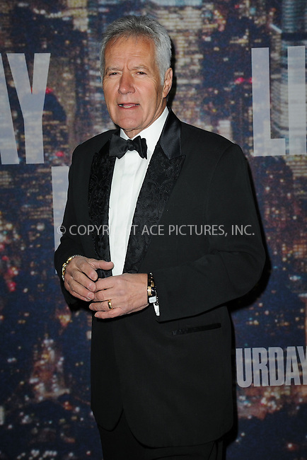WWW.ACEPIXS.COM<br /> February 15, 2015 New York City<br /> <br /> Alex Trebek walking the red carpet at the SNL 40th Anniversary Special at 30 Rockefeller Plaza on February 15, 2015 in New York City.<br /> <br /> Please byline: Kristin Callahan/AcePictures<br /> <br /> ACEPIXS.COM<br /> <br /> Tel: (646) 769 0430<br /> e-mail: info@acepixs.com<br /> web: http://www.acepixs.com