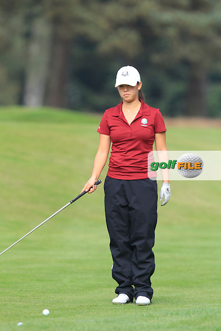 Andrea Lee (USA) on the 1st hole of the Mixed Fourballs during the 2014 JUNIOR RYDER CUP at the Blairgowrie Golf Club, Perthshire, Scotland. <br /> Picture:  Thos Caffrey / www.golffile.ie