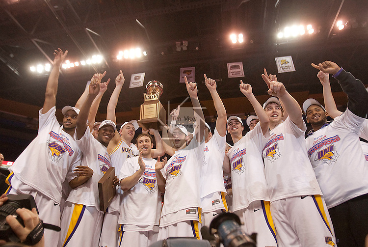 March 7,  2010          Northern Iowa players hold the MVC Championship Trophy during the awards presentation after the game.  The University of Northern Iowa defeated Wichita State 67-52 on Sunday March 7, 2010 in the championship game of the Missouri Valley Conference Tournament at the Scottrade Center in downtown St. Louis.   They automatically earn a berth in the NCAA Tournament.