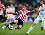 Aymeric Laporte (l) of Athletic Club fights for the ball with Daniel Carvajal Ramos of Real Madrid during their La Liga match between Real Madrid and Athletic Club at the Santiago Bernabeu Stadium on 23 October 2016 in Madrid, Spain. Photo by Diego Gonzalez Souto / Power Sport Images