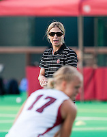 STANFORD CA - September 23, 2011: Head Coach Tara Danielson before the Stanford vs Cal at vs Lehigh field hockey game at the Varsity Field Hockey Turf Friday night at Stanford.<br /> <br /> The Cardinal team defeated the Golden Bears 3-2.