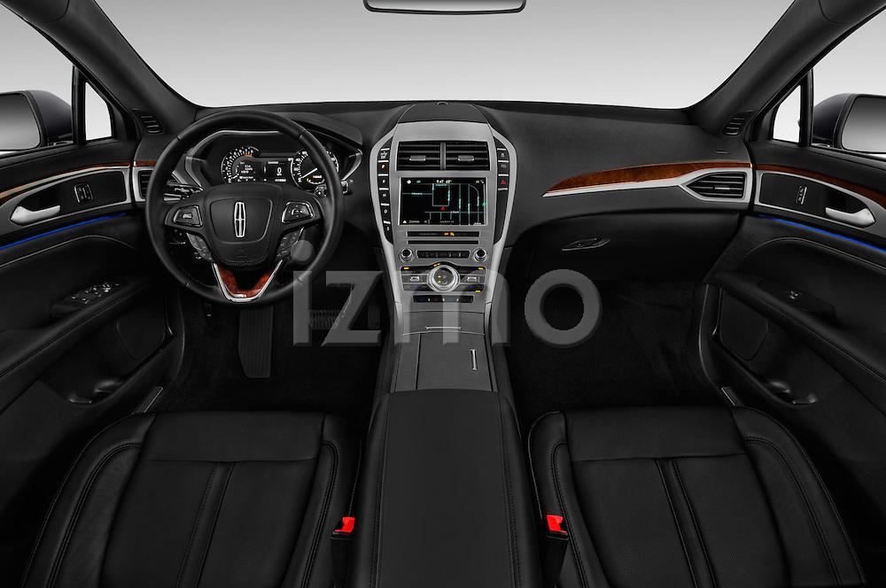 Stock photo of straight dashboard view of 2017 Lincoln MKZ Reserve 4 Door Sedan Dashboard