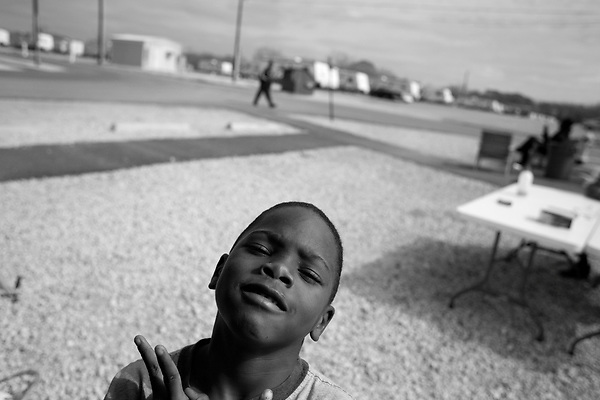 February 02, 2008. Baker, LA.. Renaissance Village trailer park for Louisiana residents displaced by Hurricanes Katrina and Rita. Over 2 years after the storms, hundreds of residents still live in the temporary trailer park, as they search for ways to move out and reestablish their lives.. Darrell is 9 and does not know when he will leave the park.