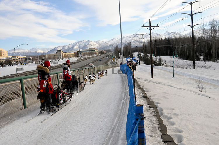 Iditarod veteran musher Aliy Zirkle takes her dog team through Anchorage, Alaska during Iditarod 2011.