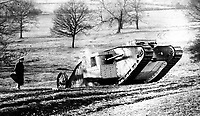 BNPS.co.uk (01202 558833)<br /> Pic: TheTankMuseum/BNPS<br /> <br /> 'Mother' the prototype Mk 1 tank undergoing trials at Burton Park near Lincoln.<br /> <br /> Shellshocked - Red-faced boffins rediscover the worlds first tank shell...in one of their own display cabinets !<br /> <br /> A search was instigated after a staff member unearthed a decades-old handwritten catalogue that listed the long forgotten round as part of the Tank Museum's collection.<br /> <br /> The historic projectile was eventually rediscovered in a cabinet full of shells of different calibres without its significance being noted.<br /> <br /> The 6lbs shell was fired from the prototype Mark I tank during its first trial at Burton Park in Lincolnshire on 20 January 1916, after two members of the Landships Committee had a bet that the revolutionary machine would fall apart. <br /> <br /> After a 2 hour search of the Park the fired round was retrieved for posterity before becoming lost in the museums vast collection.