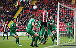 Jack O'Connell of Sheffield Utd gets up on the back post during the championship match at the Bramall Lane Stadium, Sheffield. Picture date 28th April 2018. Picture credit should read: Simon Bellis/Sportimage