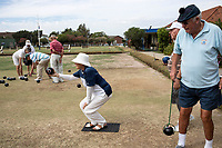 PINELANDS, SOUTH AFRICA – FEBRUARY 8: Members of Pinelands Bowling club plays a tournament on February 8, 2018 in Pinelands, about 10 kilometers outside Cape Town, South Africa. Their lawns are suffering from the drought and lack of water. The city of Cape Town is experiencing a water shortage and water restrictions are in place. The big users of water are not the poor in the townships but the wealthy people in the suburbs, who have pools and gardens. (Photo by Per-Anders Pettersson)