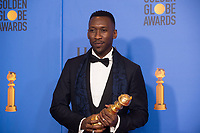 After winning the category of BEST PERFORMANCE BY AN ACTOR IN A SUPPORTING ROLE IN ANY MOTION PICTURE for his work in &quot;Green Book,&quot; actor Mahershala Ali poses backstage in the press room with his Golden Globe Award at the 76th Annual Golden Globe Awards at the Beverly Hilton in Beverly Hills, CA on Sunday, January 6, 2019.<br /> *Editorial Use Only*<br /> CAP/PLF/HFPA<br /> Image supplied by Capital Pictures