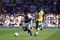 Che Adams of Birmingham City under pressure from Alexander Tettey of Norwich City during Birmingham City vs Norwich City, Sky Bet EFL Championship Football at St Andrews on 4th August 2018
