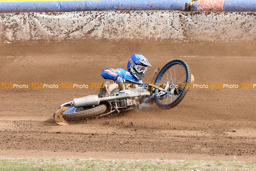 Heat 8: Dawid Stachyra (blue) crashes out - Ipswich Witches vs Lakeside Hammers - Sky Sports Elite League Speedway at Foxhall Stadium, Ipswich, Suffolk  - 10/04/09 - MANDATORY CREDIT: Gavin Ellis/TGSPHOTO - Self billing applies where appropriate - 0845 094 6026 - contact@tgsphoto.co.uk - NO UNPAID USE.