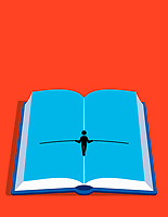 Figure walking tightrope up the centre of open book