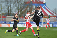George Taft of Cambridge United clears during Stevenage vs Cambridge United, Sky Bet EFL League 2 Football at the Lamex Stadium on 14th April 2018
