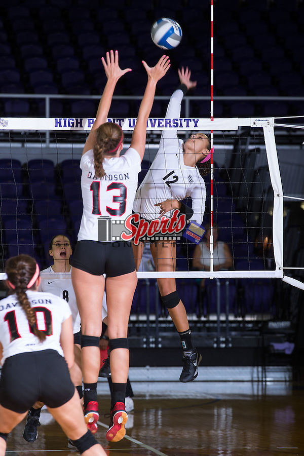 Kylie Long (12) of the Wake Forest Demon Deacons attacks the ball during the match against the Davidson Wildcats at the Panther Invitational at the Millis Athletic Center on September 12, 2015 in High Point, North Carolina.  The Demon Deacons defeated the Wildcats 3-0.   (Brian Westerholt/Sports On Film)