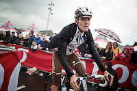 Julien Bérard (FRA/AG2R-La Mondiale) to the start podium for sign in while the rain starts gushing down<br /> <br /> Giro d'Italia 2014<br /> stage 3: Armagh (NI) - Dublin (IRL) 187km