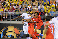 East Rutherford, NJ - Friday June 17, 2016: Cristian Zapata, Renato Tapia after a Copa America Centenario quarterfinal match between Peru (PER) vs Colombia (COL) at MetLife Stadium.