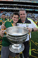 Niall Botty O'Callaghan and his son Darragh celebrate after winning the 2014 All-Ireland Football Final against Donegal in Croke Park 2014.<br /> Photo: Don MacMonagle<br /> <br /> <br /> Photo: Don MacMonagle <br /> e: info@macmonagle.com