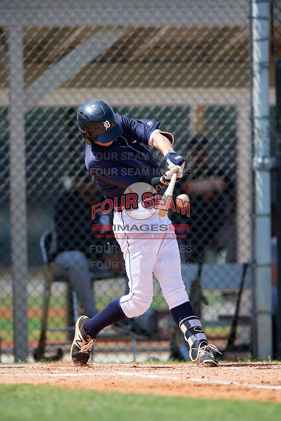 GCL Tigers East center fielder Kingston Liniak (15) swings at a pitch during a game against the GCL Tigers West on August 8, 2018 at Tigertown in Lakeland, Florida.  GCL Tigers East defeated GCL Tigers West 3-1.  (Mike Janes/Four Seam Images)