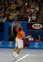 Rafael Nadal (ESP) (2) against Peter Luczak (AUS) in the First Round of the Mens Singles. Nadal beat Luczak 7-6 (0) 6-1 6-4..International Tennis - Australian Open Tennis - Mon 18 Jan 2010 - Melbourne Park - Melbourne - Australia ..© Frey - AMN Images, 1st Floor, Barry House, 20-22 Worple Road, London, SW19 4DH.Tel - +44 20 8947 0100.mfrey@advantagemedianet.com