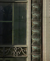 Tropical Rainforest Glasshouse (formerly Le Jardin d'Hiver or Winter Gardens), 1936, René Berger, Jardin des Plantes, Museum National d'Histoire Naturelle, Paris, France. Detail of the Facade showing classical style decoration around the main Art Deco style entrance.