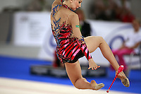 September 21, 2007; Patras, Greece;  Liubov Charkashyna of Belarus performs handling with clubs during the All-Around final at 2007 World Championships Patras.  Liubov placed 8th in the AA to qualify Belarus for 2nd of 2 positions in the individual All-Around competition at Beijing 2008.  Photo by Tom Theobald. .