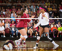 STANFORD, CA - September 9, 2018: Audriana Fitzmorris at Maples Pavilion. The Stanford Cardinal defeated #1 ranked Minnesota 3-1 in the Big Ten / PAC-12 Challenge.