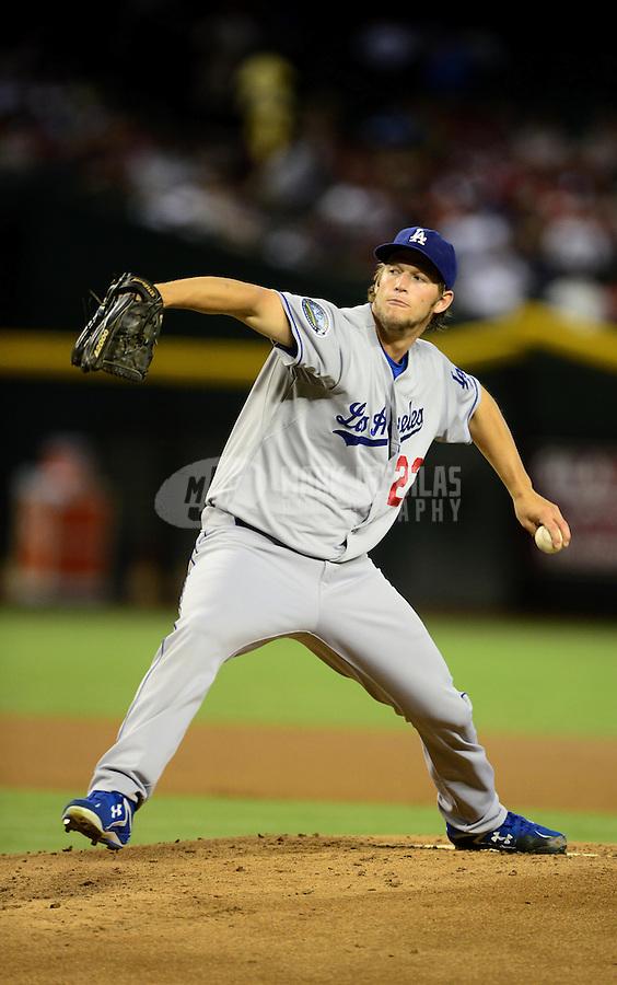 Jul. 6, 2012; Phoenix, AZ, USA: Los Angeles Dodgers pitcher Clayton Kershaw throws in the first inning against the Arizona Diamondbacks at Chase Field. Mandatory Credit: Mark J. Rebilas-