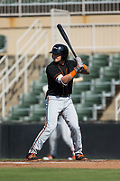 Alejandro Juvier (6) of the Delmarva Shorebirds at bat against the Kannapolis Intimidators at Kannapolis Intimidators Stadium on July 2, 2017 in Kannapolis, North Carolina.  The Shorebirds defeated the Intimidators 5-4.  (Brian Westerholt/Four Seam Images)