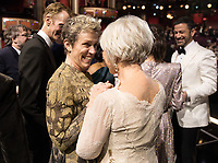 Oscar&reg;-winner Frances McDormand greets Helen Mirren during the live ABC Telecast of the 90th Oscars&reg; at the Dolby&reg; Theatre in Hollywood, CA on Sunday, March 4, 2018.<br /> *Editorial Use Only*<br /> CAP/PLF/AMPAS<br /> Supplied by Capital Pictures