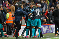 The Swansea bench celebrate their win during the Sky Bet Championship match between Charlton Athletic and Swansea City at The Valley, London, England, UK. Wednesday 02 October 2019