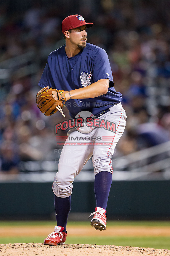 Lehigh Valley IronPigs relief pitcher Phillippe Aumont (48) in action against the Charlotte Knights at BB&T Ballpark on May 8, 2014 in Charlotte, North Carolina.  The IronPigs defeated the Knights 8-6.  (Brian Westerholt/Four Seam Images)
