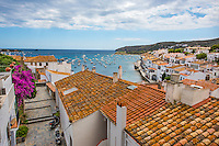 Spain, Costa Brava, Catalonia, Cadques. Over view of town.