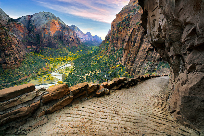 Angel's Landing trail and view of zion valley. Zion National Park, Utah
