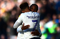 Preston North End's Callum Robinson celebrates scoring his side's second goal with Daniel Johnson<br /> <br /> Photographer Richard Martin-Roberts/CameraSport<br /> <br /> The EFL Sky Bet Championship - Preston North End v Wigan Athletic - Saturday 6th October 2018 - Deepdale Stadium - Preston<br /> <br /> World Copyright &not;&copy; 2018 CameraSport. All rights reserved. 43 Linden Ave. Countesthorpe. Leicester. England. LE8 5PG - Tel: +44 (0) 116 277 4147 - admin@camerasport.com - www.camerasport.com