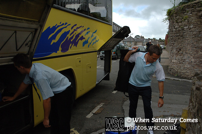 Aldershot Town 0 Torquay United 3, 15/08/2007. Plainmoor, Football Conference. Torquay's first game in the Blue Square Premier. A 330 mile round trip to Aldershot Town's Recreation Ground. Manager Paul Buckle and staff load the team bus outside the Gulls Lodge, the Gulls Lodge is the accommodation for younger players and loanees.