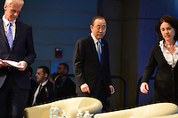 "Washington, DC - April 15, 2016: UN Secretary General Ban Ki-moon enters the Preston Auditorium to participate in the ""Forced Displacement: A Global Development Challenge"" discussion at the World Bank Group MC building in the District of Columbia during the IMF/World Bank Spring Meetings, April 15, 2016.  (Photo by Don Baxter/Media Images International)"