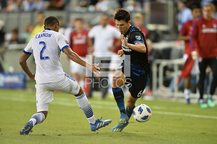 San Jose, CA - Wednesday August 29, 2018: Reggie Cannon, Shea Salinas during a Major League Soccer (MLS) match between the San Jose Earthquakes and FC Dallas at Avaya Stadium.
