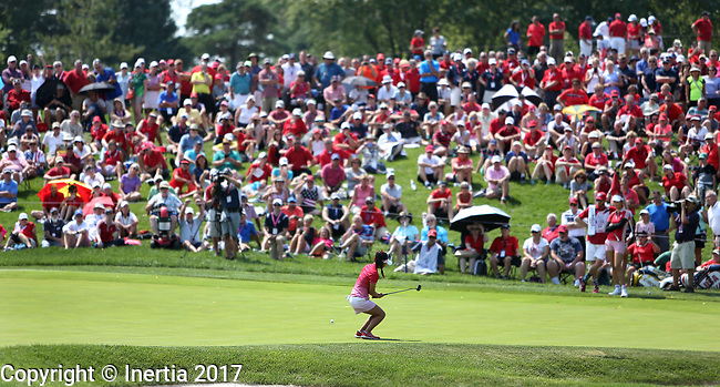 DES MOINES, IA - AUGUST 18: USA's Danielle Kang tries to coax her ball in the cup on the 4th hole during her afternoon match at the 2017 Solheim Cup in Des Moines, IA. (Photo by Dave Eggen/Inertia)