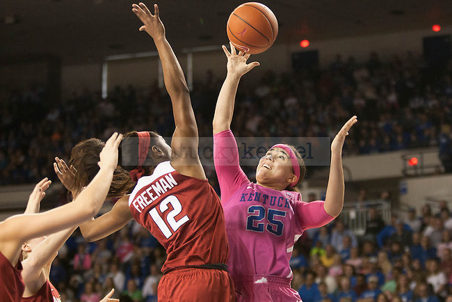Junior guard Makayla Epps (25) shoots a floater during the game against the Arkansas Razorbacks on Sunday, February 21, 2016 in Lexington, Ky. Kentucky won the game 77-63. Photo by Hunter Mitchell | Staff