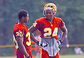 Washington Redskins cornerback Champ Bailey (24) discusses his participation in the team's training camp with another teammate at Redskins Park in Ashburn, Virginia on August 10, 2000.<br /> Credit: Arnie Sachs / CNP