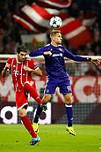 September 12th 2017, Munich, Germany, Champions League football, Bayern Munich versus Anderlecht; Javi Martinez of Bayern Munchen and Lukasz Teodorczyk forward of RSC Anderlecht