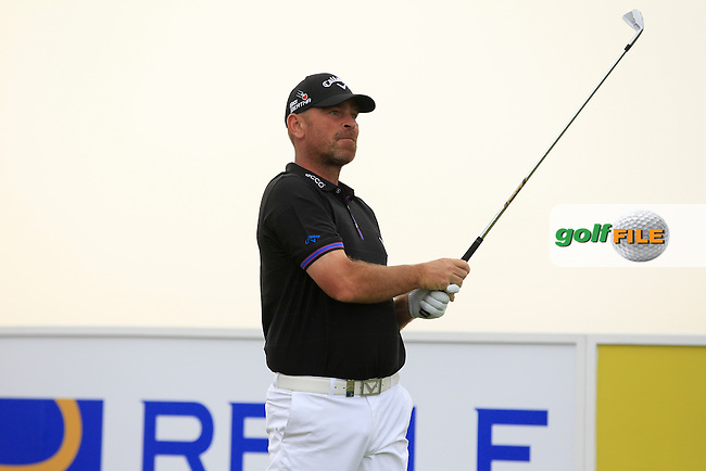 Thomas Bjorn (DEN) on the 13th tee during Round 1 of the Open de Espana  in Club de Golf el Prat, Barcelona on Thursday 14th May 2015.<br /> Picture:  Thos Caffrey / www.golffile.ie