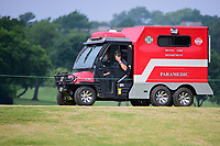 The City of Irving's golf course ambulance makes its way down 10 during round 3 of  the Volunteers of America Texas Shootout Presented by JTBC, at the Las Colinas Country Club in Irving, Texas, USA. 4/29/2017.<br /> Picture: Golffile | Ken Murray<br /> <br /> <br /> All photo usage must carry mandatory copyright credit (&copy; Golffile | Ken Murray)