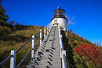 A Stairway Leading Up To The Owl's Head Lighthouse Which Stands At the Entrance To Rockland Harbor, Maine, USA