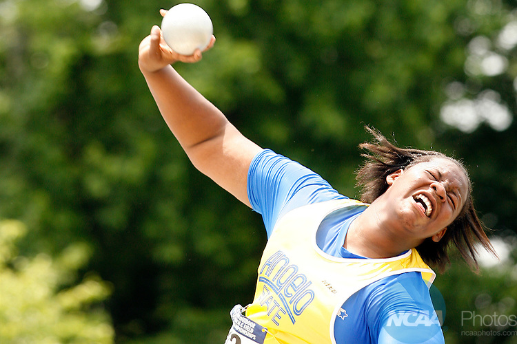 29 MAY 2010:  Kimberly Williams of Angelo State University makes a throw during the Division II Men's and Women's Track and Field Championship held at the Irwin Belk Complex on the Johnson C. Smith University campus in Charlotte, NC.  Williams placed 12th with a 13.51 meter throw.  Jason Miczek / NCAA Photos