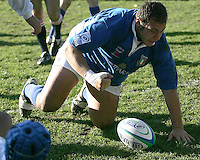 Italy prop {no. 1} celebrates scoring a try against Chinese Taipei in Div B of Under 19 RWC match at Gibson Park Belfast, 4th April 2007.