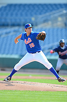 Pitcher John Ray (15) of Christian Brothers High School in Southhaven, Mississippi playing for the New York Mets scout team during the East Coast Pro Showcase on July 31, 2013 at NBT Bank Stadium in Syracuse, New York.  (Mike Janes/Four Seam Images)