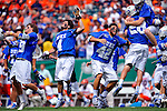 27 MAY 2013:  Dan Wigrizer (4) and Matt Kunkel (42) of Duke University celebrate their victory over Syracuse University after the Division I Men's Lacrosse Championship held at Lincoln Financial Field in Philadelphia, PA.  Duke defeated Syracuse 16-10 for the national title.  Larry French/NCAA Photos