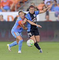Andressa (17) of the Houston Dash and Danielle Colaprico (24) of the Chicago Red Stars battle for control of the ball in the first half on Saturday, April 16, 2016 at BBVA Compass Stadium in Houston Texas.